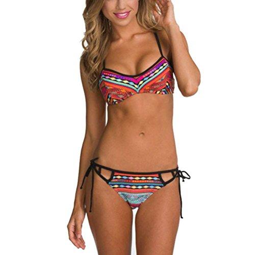 TWIFER Damen Bikini Set Bademode Bandeau Push up Gepolsterter BH Badeanzug (Spitzen-bh Bikini-höschen)