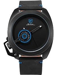 Shark Hombre Reloj de pulsera cuarzo Banda de cuero Fecha Negro Azul
