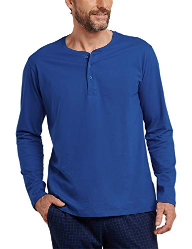 Schiesser Herren Mix & Relax Langarmshirt Knopfleiste Schlafanzugoberteil, Blau (Royal 819), Large (Herstellergröße: 052)