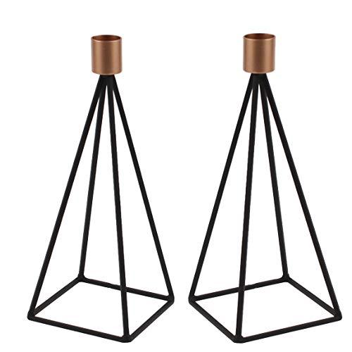 Bada Bing 2er Set Kerzenhalter Metall Nordic Schwarz Kupfer Stabil Kerzenständer Kerzenleuchter 68