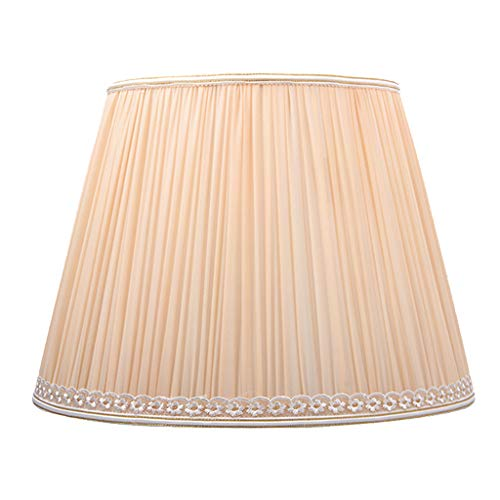 Gefalteter Lampenschirm aus Seide, Nachttischlampe Abdeckung Schreibtischlampe Ersatz Lampenschirm Groß Rustikal Wohnzimmer Stehlampe Schatten,Beige -