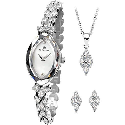 Accurist blanco dialstone Set pulsera reloj de pulsera para mujer con colgante de Match y ear studs Giftset 8097G