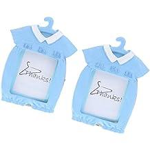 MagiDeal 2 Pedazos Mini Marcos de Foto de Bebé Forma de Percha de Ropa de Bebé Regalos para Bebé Recién Nacido - Azul