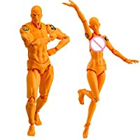 yongpin Action Figure Model, Human Mannequin Man + Woman Action Figure Set with Accessories Kit, Perfect for Drawing, Sketching, Painting, Artist,Cartoon Figures Action (B#616)