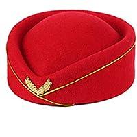 GHC Gorras y Sombreros Sombrero de Lana para Mujer Pastillero Azafata Azafatas Camarera Base Cap Realizar Banda Cosplay Fiesta Sombrero de Boina (Color : Rojo)