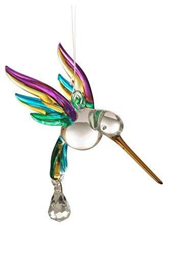 Tropical soplado a mano y colibrí colgante de cristal pintada con un