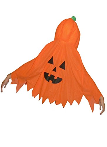 (Jo02A Kürbis Kostüm Umhang für Halloween, Einheitsgröße passend für Kinder und Erwachsene)