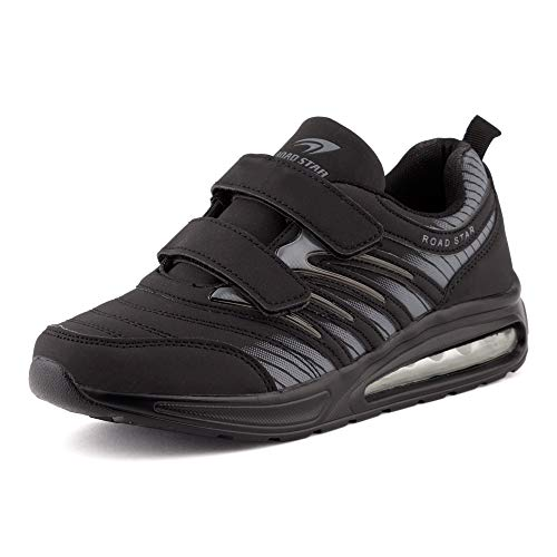 Fusskleidung Damen Herren Sportschuhe Klettverschluss Sneaker Dämpfung Neon Laufschuhe Runners Gym Unisex Schwarz Schwarz EU 39