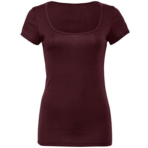 Schiere Mini Rippe Rundhalsausschnitt T-Shirt Pflaume