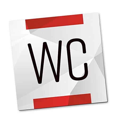 Logbuch-Verlag 1 WC-Schild Toiletten-Schild Tür-Schild Badezimmer neutral rot grau Silber Büro Praxis Kanzlei Personaltoilette Kundentoilette dezent Alu