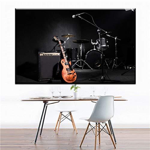 XWArtpic Kreative abstrakte persönlichkeit Feuer Gitarre leinwand Bilder öl Kunst leinwand malerei für Wohnzimmer Schlafzimmer Musik Studio Decor D 30 * 45 cm - E-gitarre Feuer