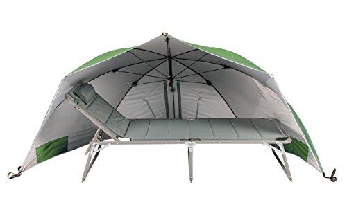 Meerweh Sonnenschirm/Windschutz Muschel, grün, 60 x 290 x 145 cm, 74032