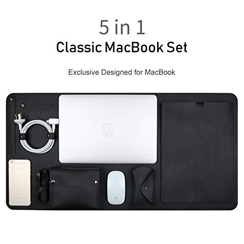 TECOOL 5 in 1 MacBook Pro 15 Lederhülle, Wasserdicht Mikrofaser Kunstleder MacBook Hülle mit Power Pouch, Schreibtischunterlage & Maus Hülle für MacBook Pro 15 Zoll(A1398/A1707/A1990), Schwarz