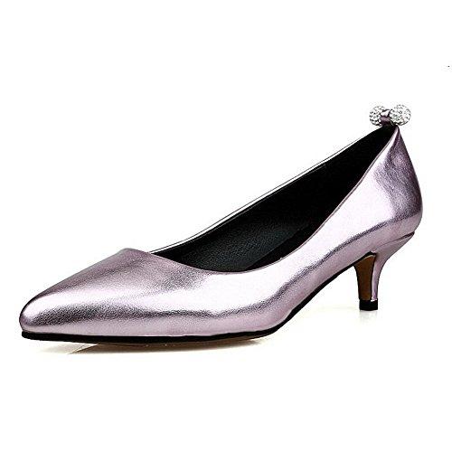 VogueZone009 Femme à Talon Bas Mosaïque Tire Matière Souple Pointu Chaussures Légeres Rose