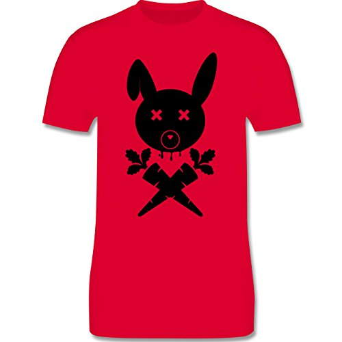 Sonstige Tiere - Hase Skull - Herren Premium T-Shirt Rot