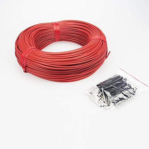 AMEINV Sistema de cable de calefacción por suelo radiante de 50m de 220v 230v 3mm 12K 33 Ohm Cable de piso de fibra de carbono Línea directa de cable eléctrico, rojo