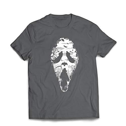 lepni.me Männer T-Shirt Tribal Sensenmann Schrei - Tod gruselig beängstigend (Large Graphit Mehrfarben)