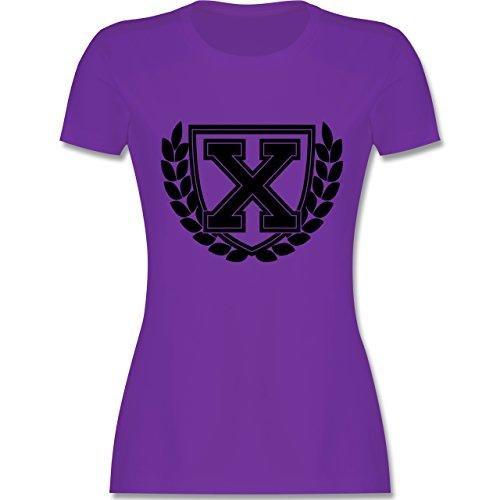 Anfangsbuchstaben - X Collegestyle - tailliertes Premium T-Shirt mit Rundhalsausschnitt für Damen Lila