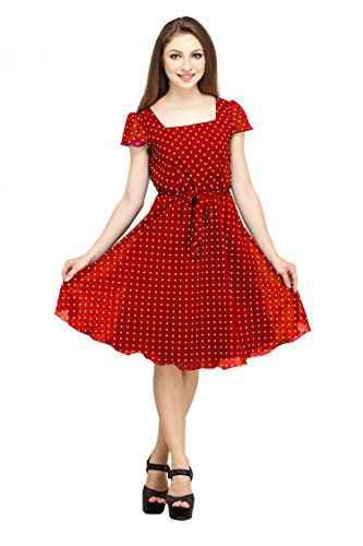 Colorfuel Women'S Dress (Cfw-001 Red Polka 3Xl_Red_Xxx-Large)