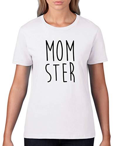 Comedy Shirts - Momster - Damen T-Shirt - Weiss/Schwarz Gr. ()