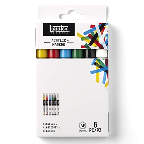 Liquitex Set de rotuladores acrílicos punta fina, Colores clásicos, 2 mm, 6 unidades