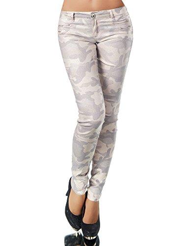 L521 Damen Jeans Hose Hüfthose Damenjeans Hüftjeans Röhrenjeans Leder-Optik, Größen:36 (S), Farben:Camouflage-Rosa