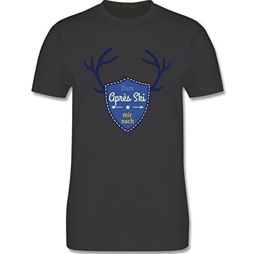 Après Ski - Mir nach Wappen mit Hirsch Geweih - Herren Premium T-Shirt Dunkelgrau