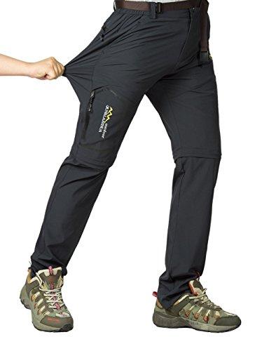 Leezepro Outdoor Hose Herren Zwei Teile zerlegbar Leicht mit Gürtel Sonnenschutz Schnell Trocknende Wanderhose Funktionshose, Grau, EU M Etikettgröße: 3XL)