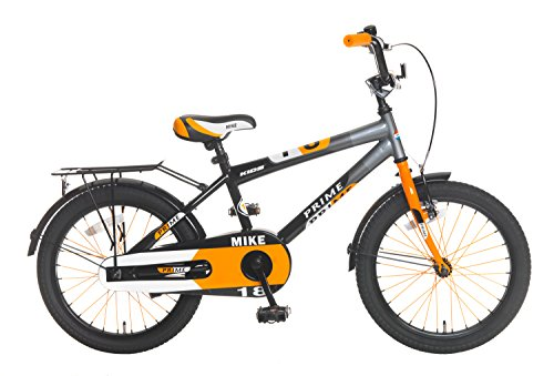 Kinderfahrrad Jungenfahrrad Popal Mike18 Zoll mit Vorradbremse am Lenker und Rücktrittbremse Grau Orange 95% Zusammengebaut