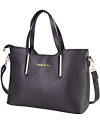 Mufly Women's Handbag Tote Large Capacity Shopping Bag Leather Top-Handle - Black