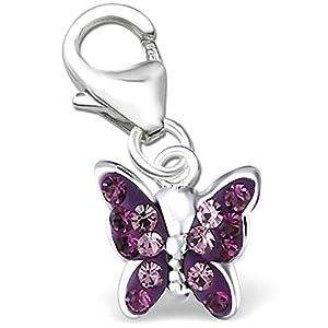 Mädchen Schmetterling Charm Anhänger für Bettelarmband echt 925 Sterling Silber mit Zirkonia Damen K410