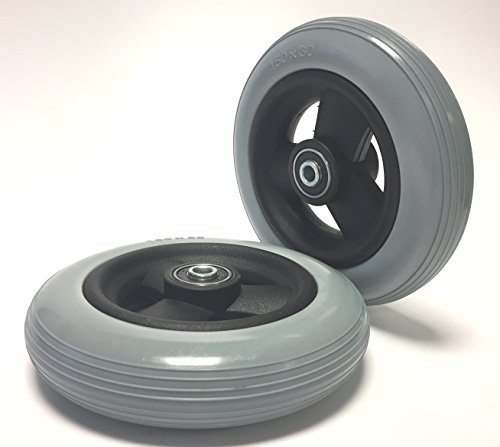 Price comparison product image Krypton 2 Piece Wheelchair Tyre Puncture Resistant 6 x 1 1/4 or, Grey, 100% Pannengeschützt Groove Profile Complete Wheels Tyres with Rim and Hub Wheelchair Ball Bearing bore 8 mm Length 36 mm
