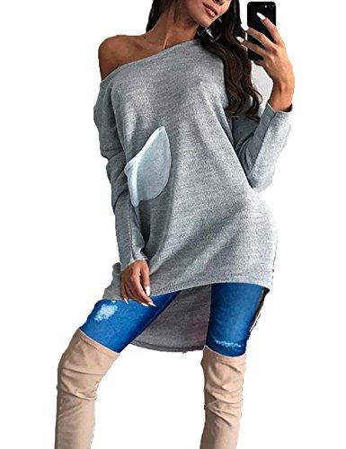 Junshan Damen Langarm Elegant Lose Pullover Kleid Oversize Schulterfrei Strickkleid Frauen Mittlerer und großer Strickpullover Casual Mini Kleid Sweater (40, Grau) (V-neck Knit Cable Schwarzes)