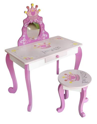 Kiddi Style Tocador Infantil y Taburete Diseño Princesas  - Madera - para niños