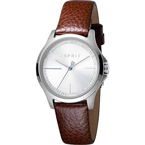 ESPRIT - Reloj analógico de Cuarzo para Mujer, Color Plateado y marrón