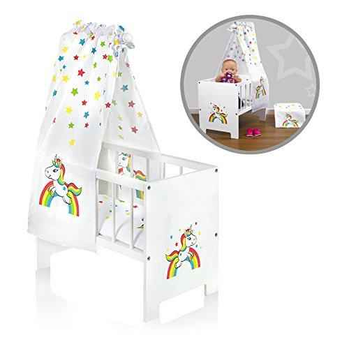 SUN Puppenbett mit Himmel Einhorn mit Regenbogen und Sternen aus Holz (Weiß-Bunt)