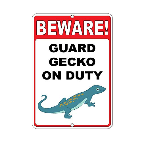 WallAdorn Beware! Guard Gecko On Duty Quote Eisen Blechschild Vintage Wall Decor für Cafe Bar Pub Home Gecko Guard