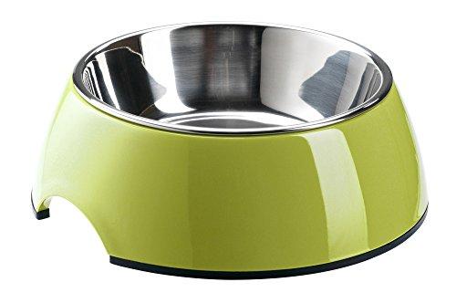 HUNTER Melamin-Napf, Futternapf, Trinknapf für Hunde und Katzen, herausnehmbarer Edelstahlnapf, 700 ml, lemon