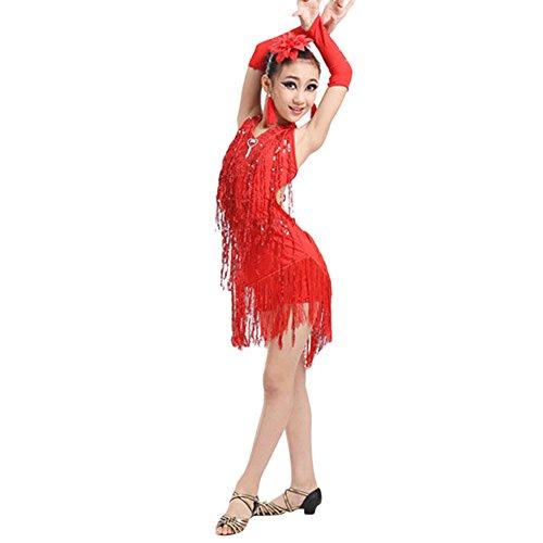 Salsa Tanz Performance Kostüm - Lonshell Mädchen Troddel Tanzkleid für Lateinisches