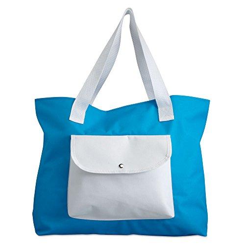 Signore grande Two Tone Beach Tote borsa a tracolla - vacanza di estate Shopping Borsa riutilizzabile Blu chiaro