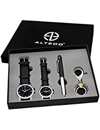 ALTEDO Analogue Black Dial Men's & Women's Couple's Watch, Stylus Pen With Led Torch & Hook Keychain -213Ags-703-G-L-Pst-Kc