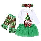 catmoew Mädchen Sets (3M-24M) Baby Mädchen Lange Ärmel Weihnachten Kleidung Brief Weihnachtsbaum Drucken top Nähen Mesh Tutu Kleid + Haarband + Socken Sets