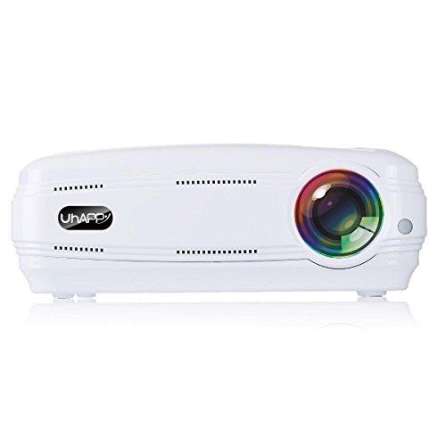UHAPPY Zuhause HD Beamer 3200 Lumen 1080P 20000 Stunden LED-Leben LED Büro Dia-Projektor , white
