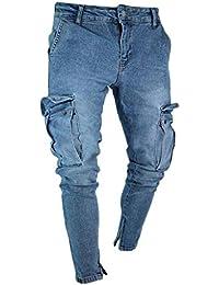 cd07747ace02a5 Jeans Uomo Strappato, Rcool Pantaloni Jeans da Uomo Skinny Fit Cotone  Casual Elasticizzati Pantaloni Denim