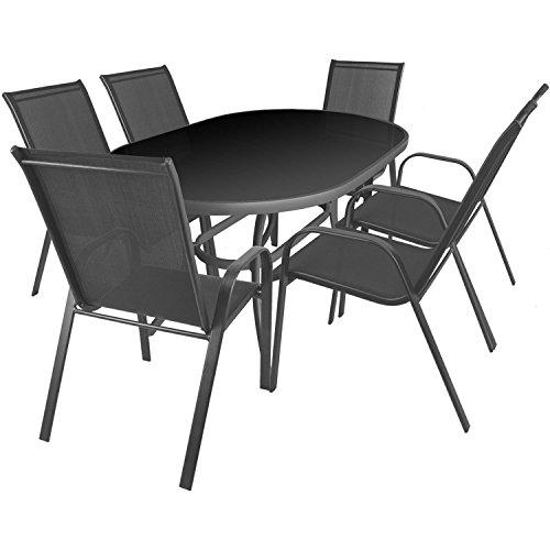 7tlg. Gartengarnitur Aluminium Glastisch 140x90cm oval + Stapelstühle mit Textilenbespannung Sitzgarnitur Sitzgruppe Gartenmöbel Balkonmöbel Terrassenmöbel