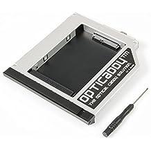 """Opticaddy© SATA-3 HDD/SSD Caddy Adaptador para HP Elitebook 8560w, 8570w, 8760w, 8770w - reemplaza la unidad óptica, viene con tecnología """"OptiSpeed"""""""