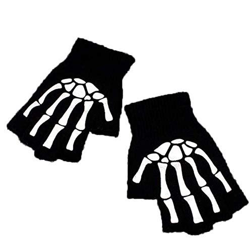 XCGZ Handschuhe & Fäustlinge Halber Finger Skelett Knochen Skull Klaue Handschuh Kostüm Stricken Magic Warmer Gloves