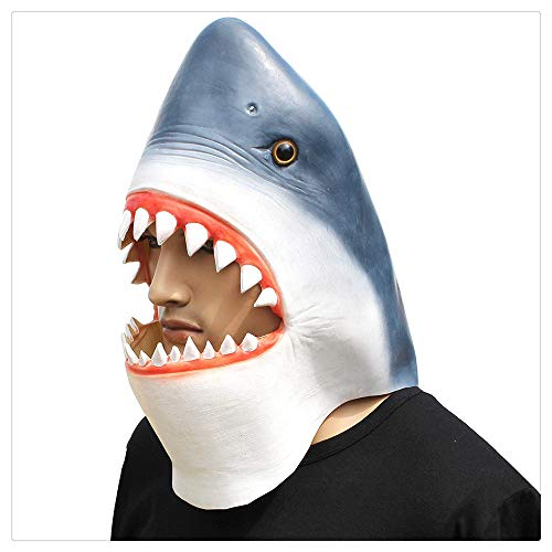 Z-one 1 Latex-Kopfmaske, Halloween-Kostüm, großer weißer Hai mit großen Zähnen, ohne Goldfisch (Große Weiße Hai Kostümen)