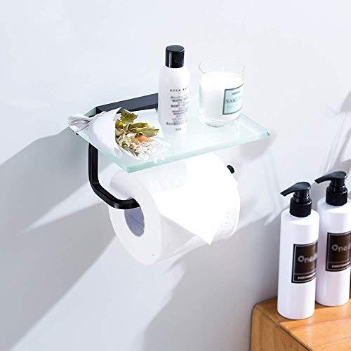 DBSCD Moderner schwarzer Toilettenpapierhalter mit Glasablage, Toilettenpapierrollenhalter mit Handyablage, Space Aluminium, Wandhalterung, Oxidations-Finish