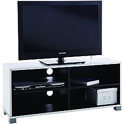 Demeyere Grafit » Banc TV intérieur Mat 101 cm, Panneaux de Particules, Blanc/Noir